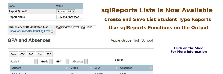 2 sqlReports Lists